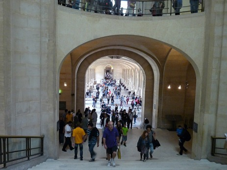 A small crowd at the Louvre today