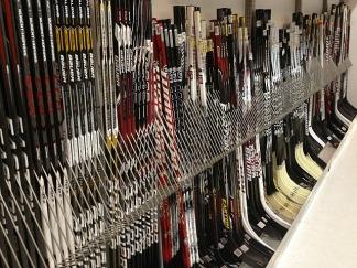 Hockey sticks at the sports shop