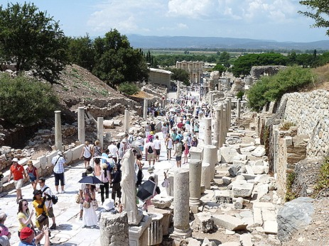 Tourists walk the roman road now