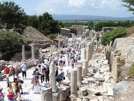 Tourists walk the roman road now