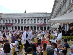 At sunset, the square transforms into a myriad of eating places