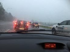 A short drive in the rain