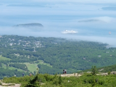 Our ship in the mist from Cadillac Mountain